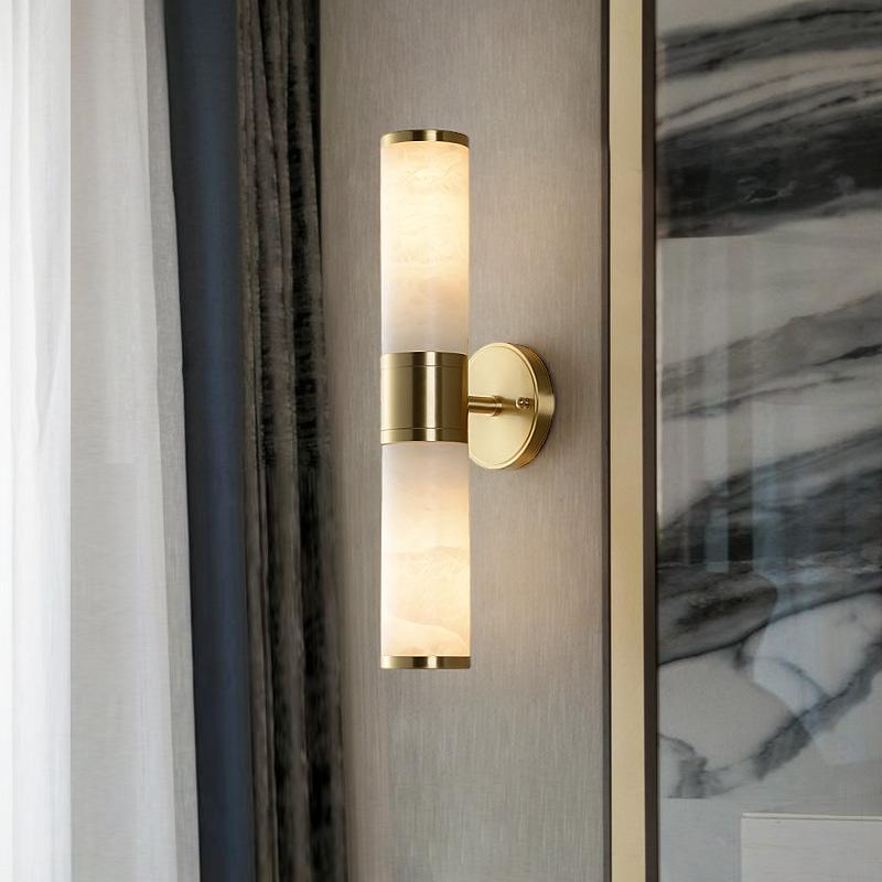 全铜云石壁灯轻奢客厅电视背景灯现代新中式简约书房卧室床头灯具