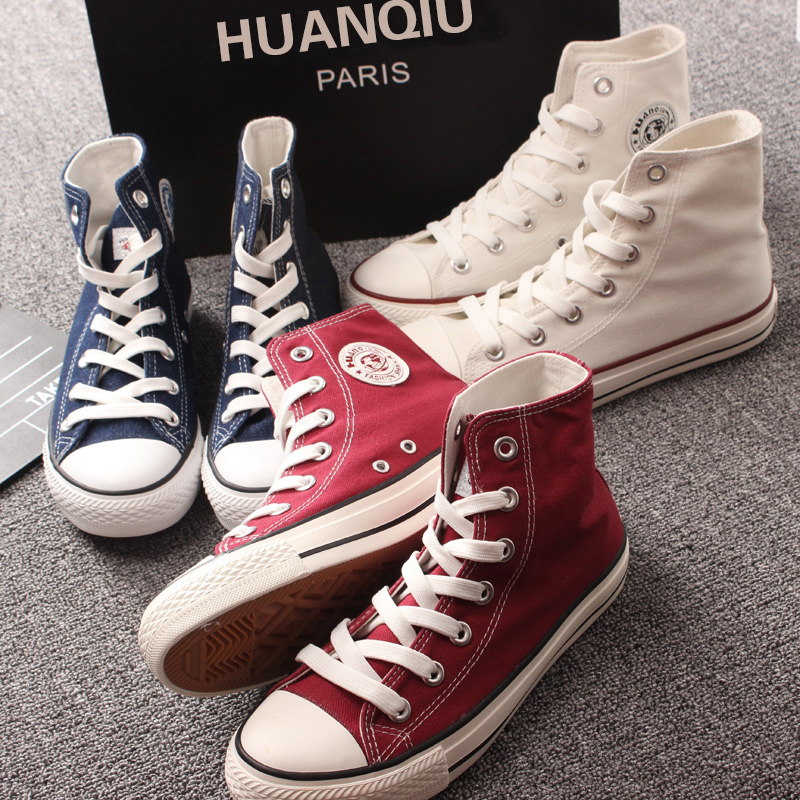 Ins small white high top canvas shoes Korean version Harajuku flat bottom casual board shoes