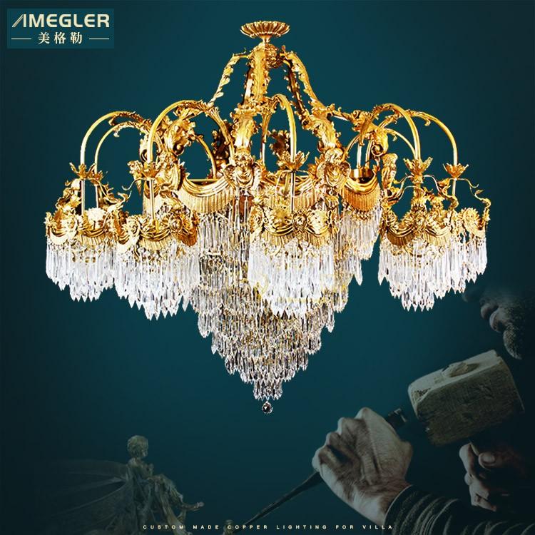 Meigele 1985 all copper crystal chandelier large European style duplex building French light luxury atmosphere villa lamps luxury copper