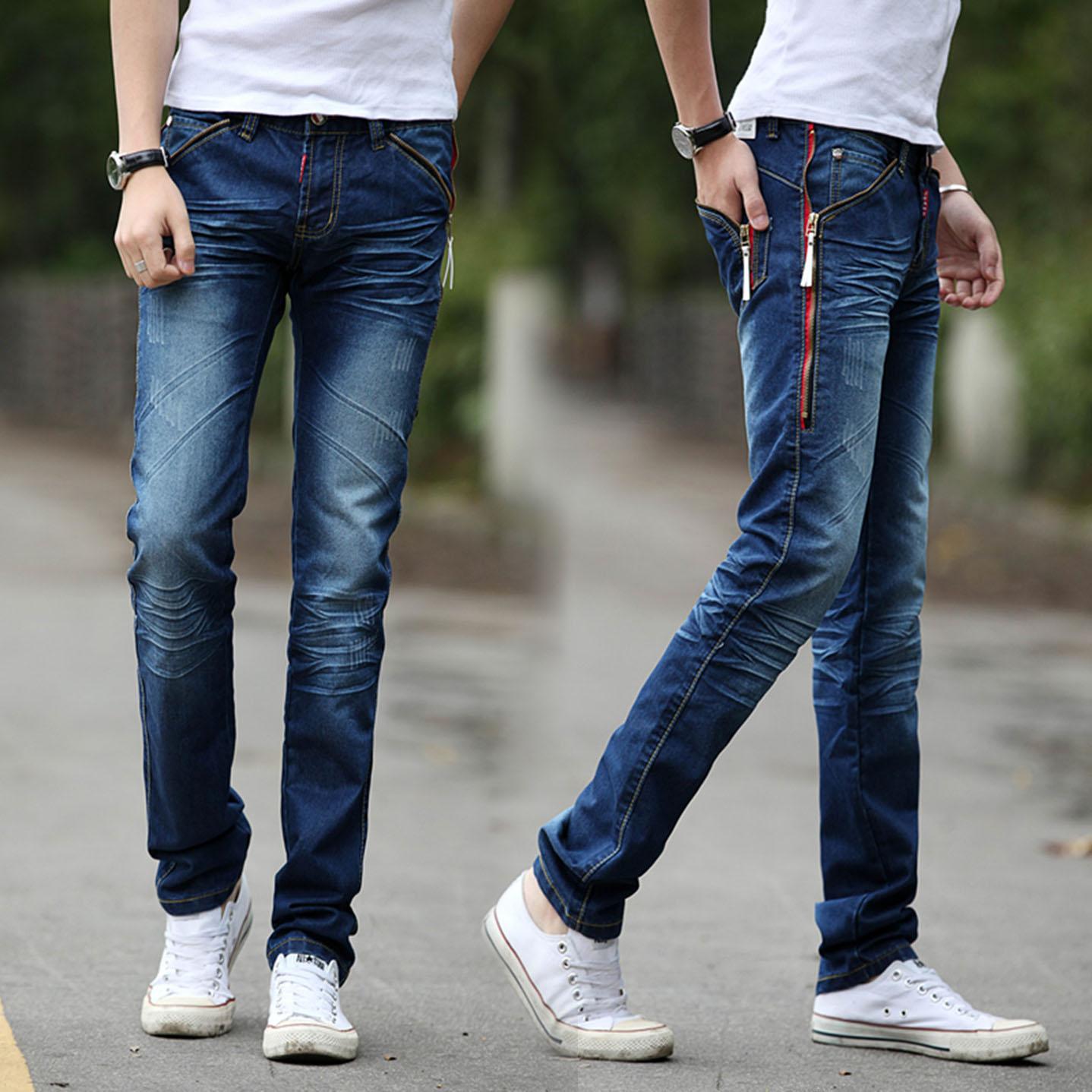 Осень/зима мужчин slim джинсы прямые мужчин длинные брюки тренд осени популярных молодых корейских молодежной НЗК