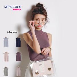 冰丝t恤女韩版无袖半高领学生打底针织衫修身背心纯色心机上衣夏