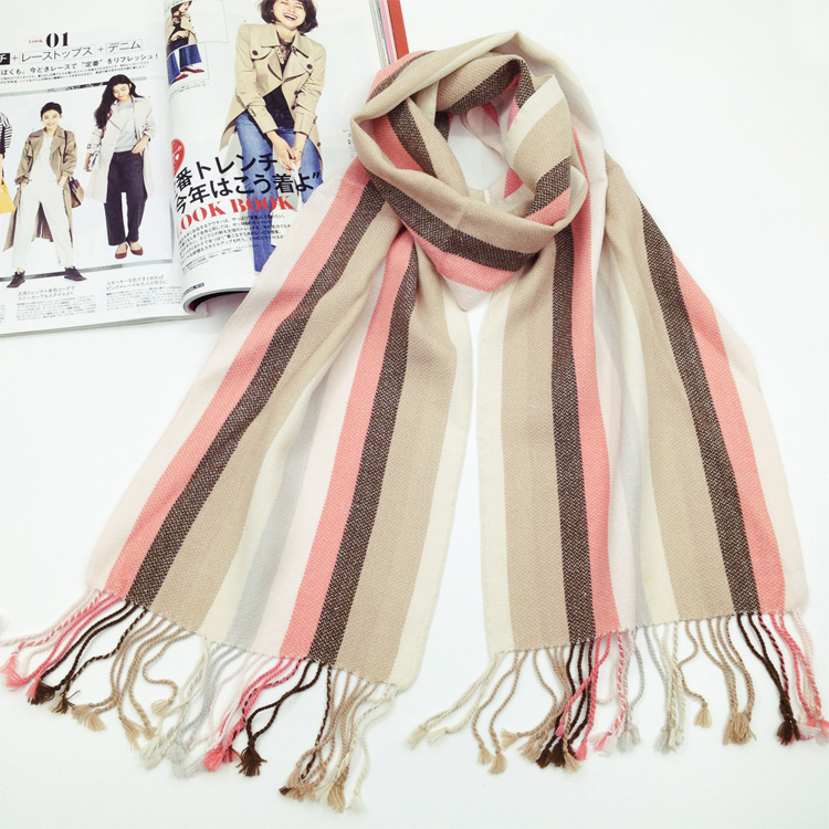 Qing Cang outer single cotton tassel super long womens scarf color stripe literary style shawl spring and autumn scarf