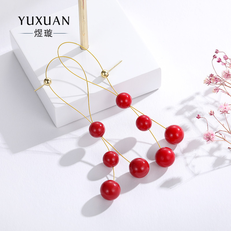 S925 sterling silver long earrings red dress with exaggerated atmosphere pearl for round face temperament earrings earrings