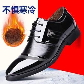 男士商务正装皮鞋男英伦休闲黑色漆皮男鞋尖头内冬季加绒棉鞋