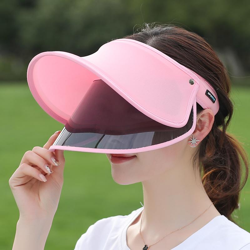 帽子女夏季遮臉大沿防曬帽全臉遮陽防曬面罩空頂太陽帽大帽檐涼帽