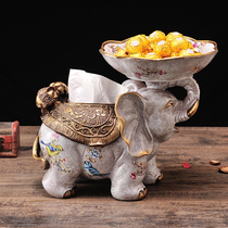 European Fruit plate living room decorative dried fruit basin Creative decoration round basket money multi-functional paper towel box ashtray
