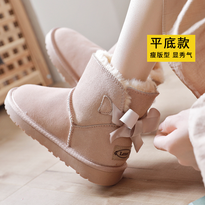 LMM snow boots womens short boots leather low boots leather bow 2020 new winter thickened cotton shoes