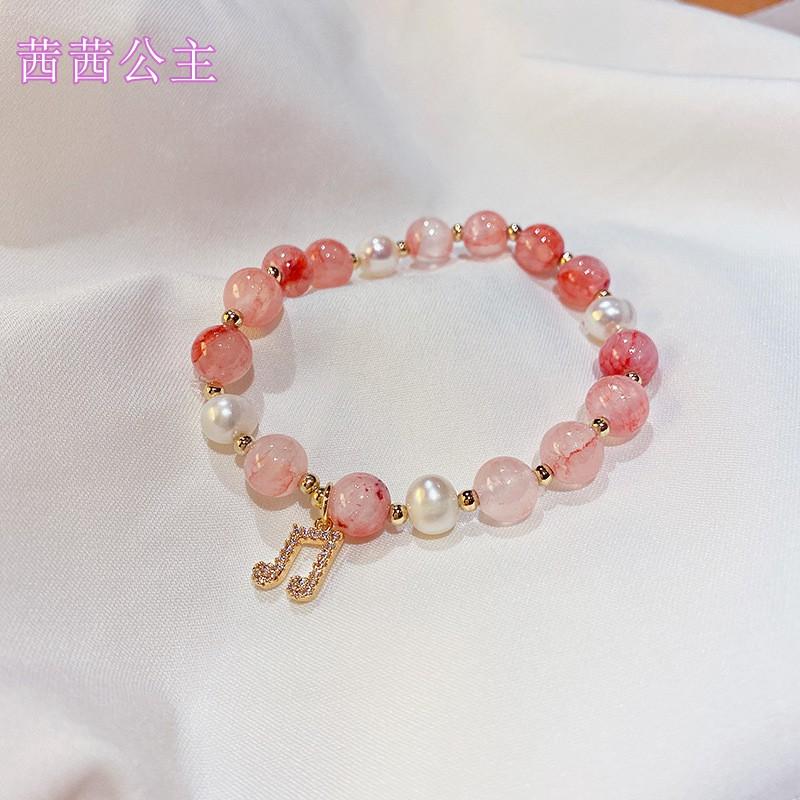 New natural pomegranate Bracelet womens Korean version simple Mori pearl string elastic personality note Bracelet chalcedony tide