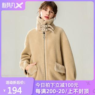 2019新款颗粒羊剪绒大衣皮毛一体欧洲站羊羔毛短款皮草羊绒外套女