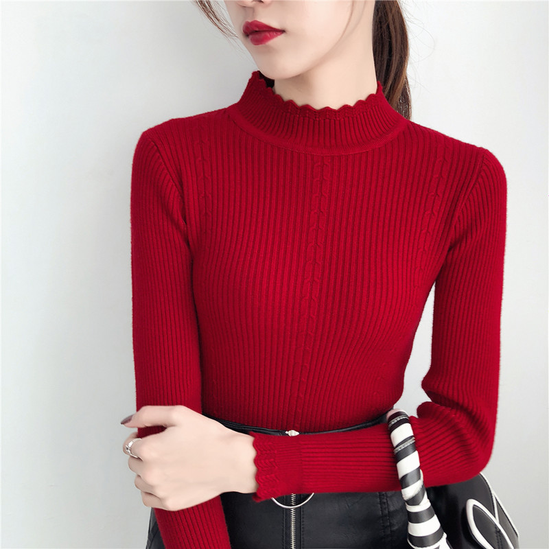 Autumn and winter pullover with tight high neck sweater womens long sleeved knitted bottomed Shirt Short slim top womens versatile