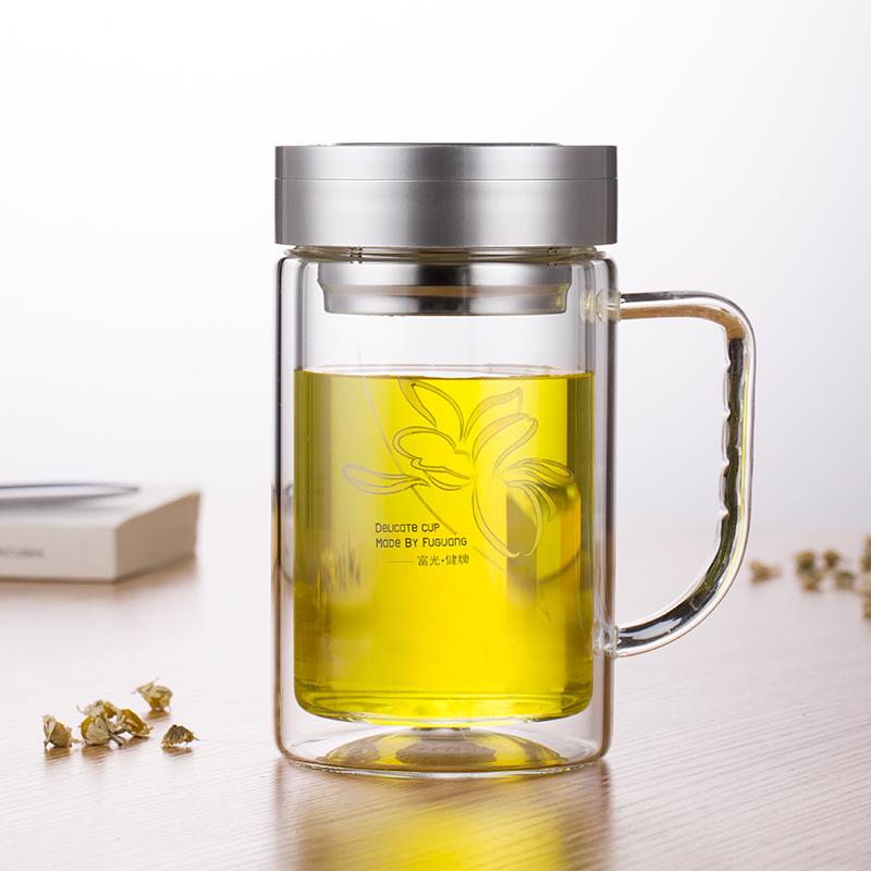 富光玻璃杯茶杯便攜雙層帶蓋男士辦公室水杯大容量500ml喝水杯子