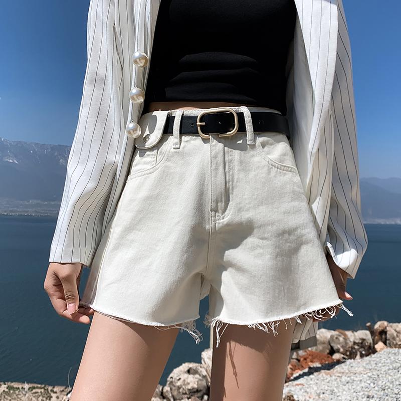 2020夏季新款复古牛仔短裤女阔腿cec直筒热裤高腰街头港味百搭图片