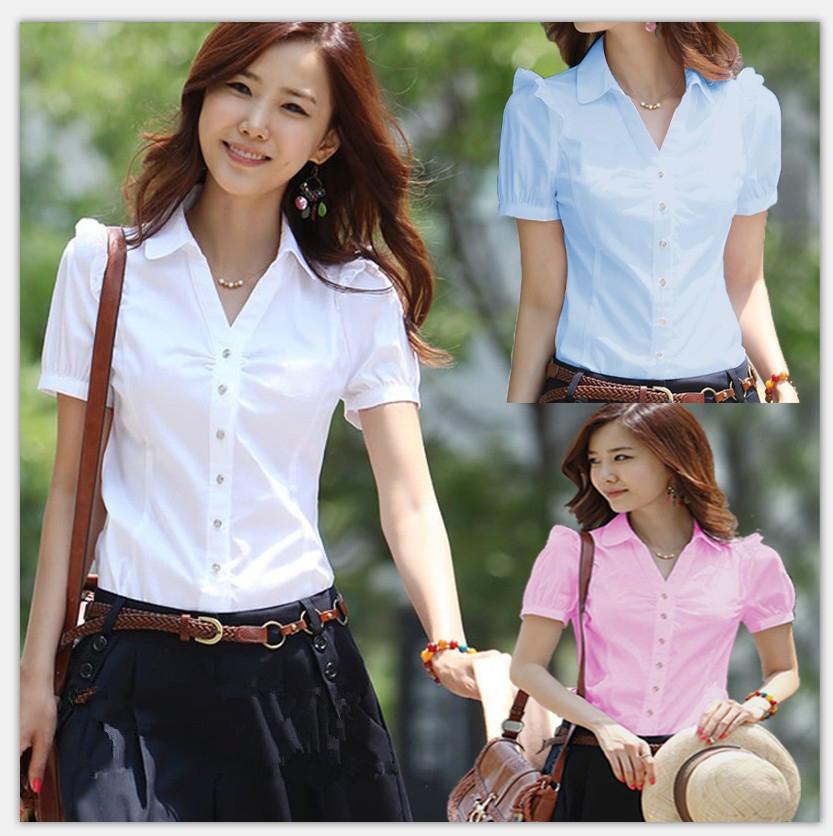 夏季职业装白衬衫泡泡袖V领修身褶皱上衣女衣服夏装便宜女装工服