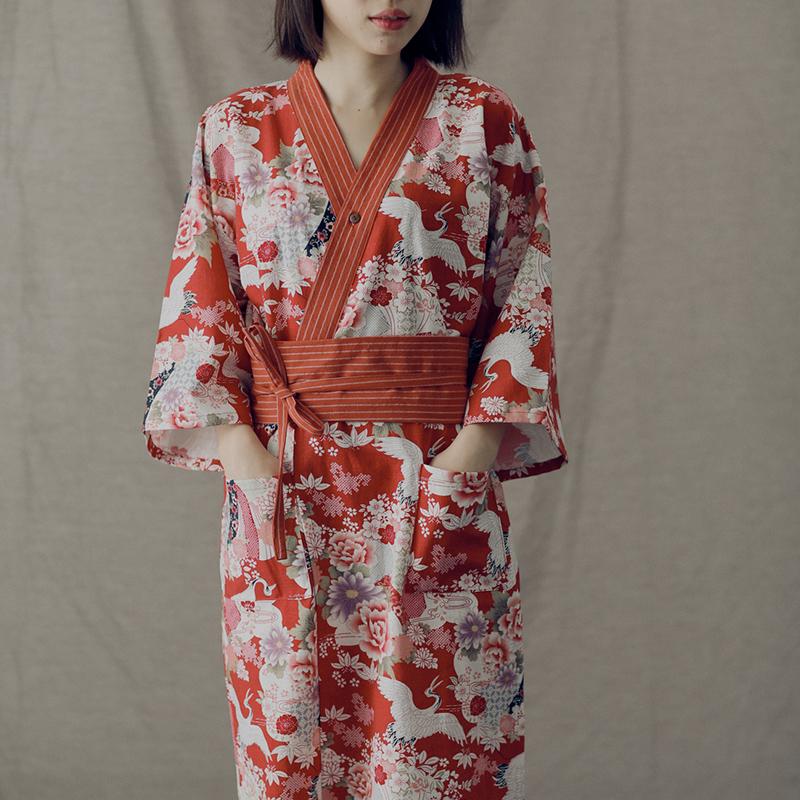 纯棉日式情侣仙鹤睡袍复古睡裙女士浴衣秋冬家居服长裤红色两件套 - 封面