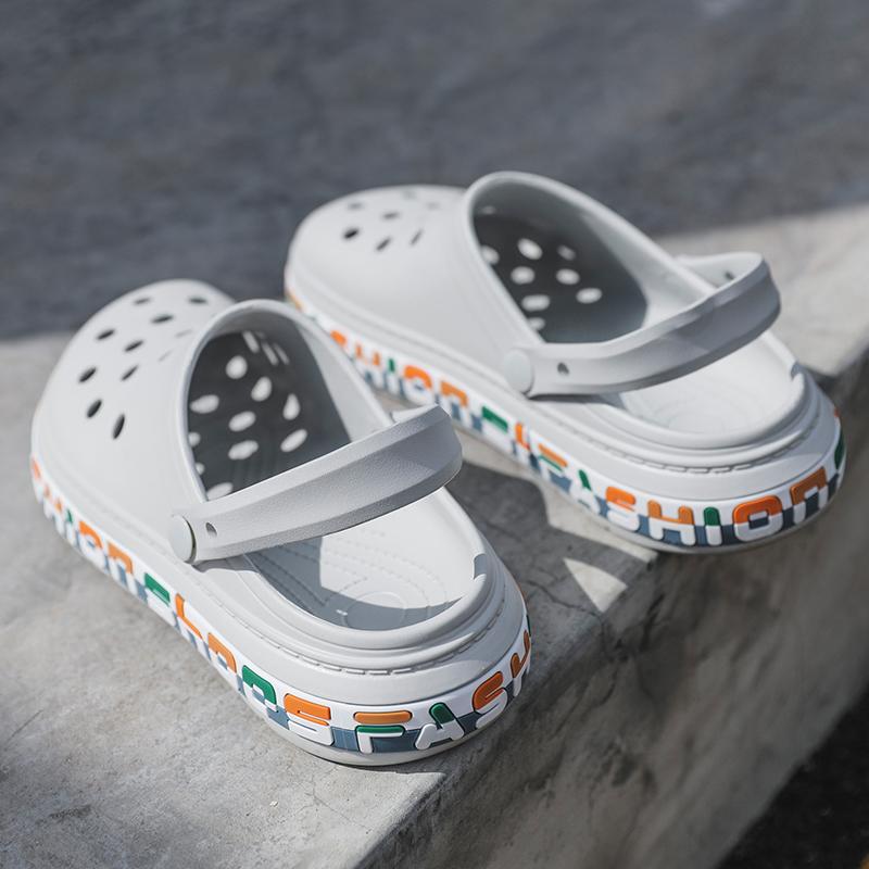 洞洞鞋男夏季外穿户外凉鞋潮包头防滑防臭大头男士沙滩透气凉拖鞋