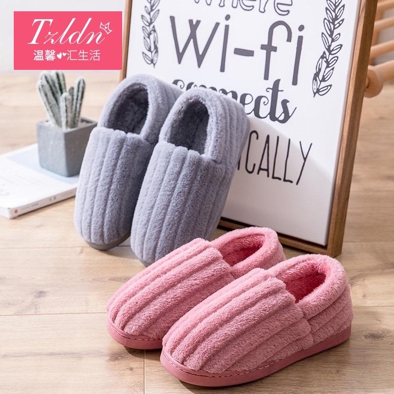 Cặp vợ chồng plush bông dép túi với tháng phụ nữ sau khi sinh mùa đông giày nhà nhà trang trí nội thất với mùa thu và mùa đông nam giày độn bông