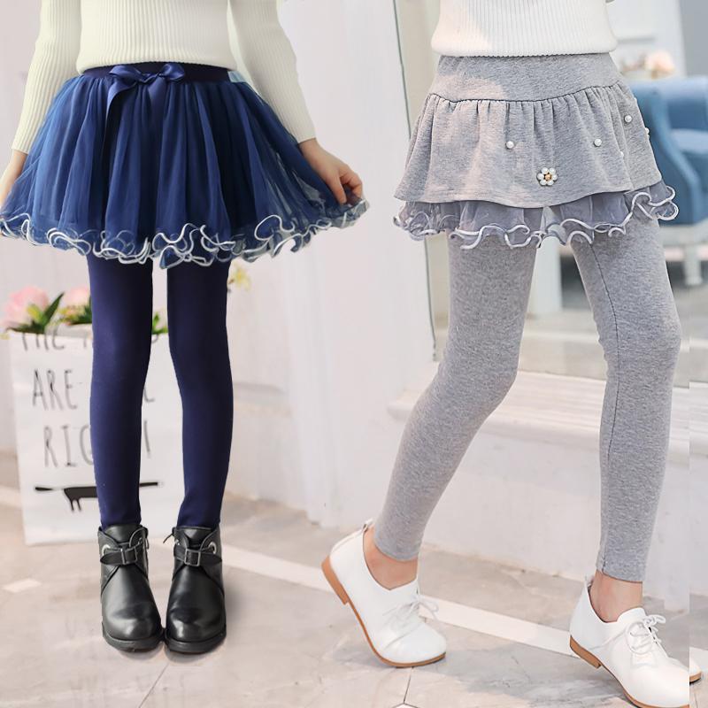 女童裙裤假两件春秋装女孩裤子中大童纯棉长裤儿童打底裤加厚加绒