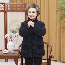 老年人冬装女棉衣加绒加厚60-70岁妈妈装老太太奶奶棉袄外套服80