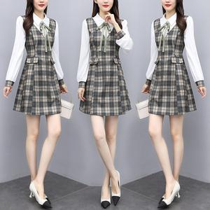 YF27845# 大码女装 春新款衬衫拼接假两件复古减龄胖MM格子连衣裙