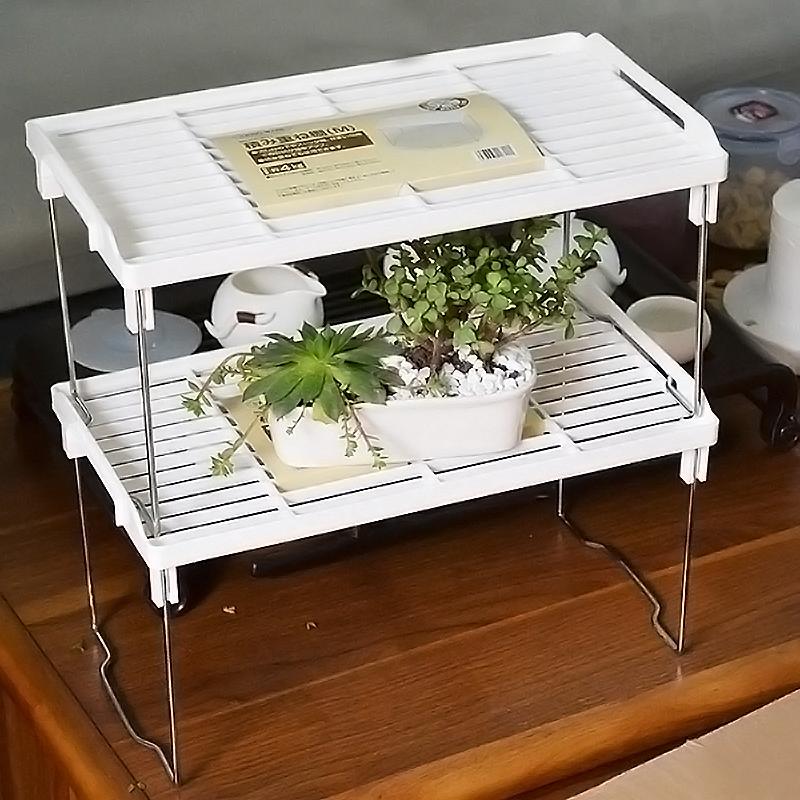 可折叠桌面置物架分层小型架子厨房杂物整理落地收纳架衣柜隔层架