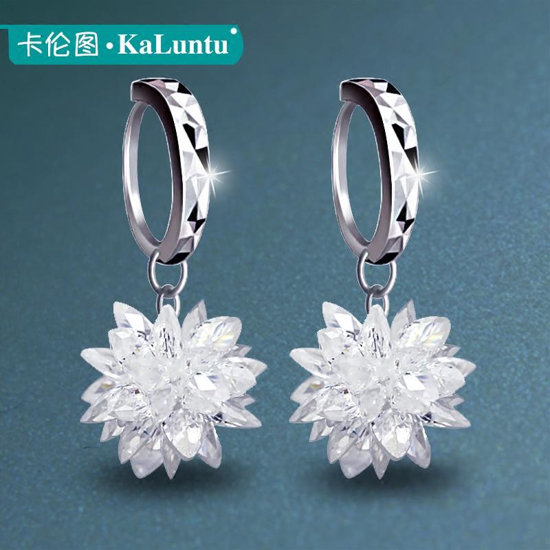 卡伦图925银耳环 冰花耳扣水晶耳坠女日韩国版时尚气质雪花耳饰品