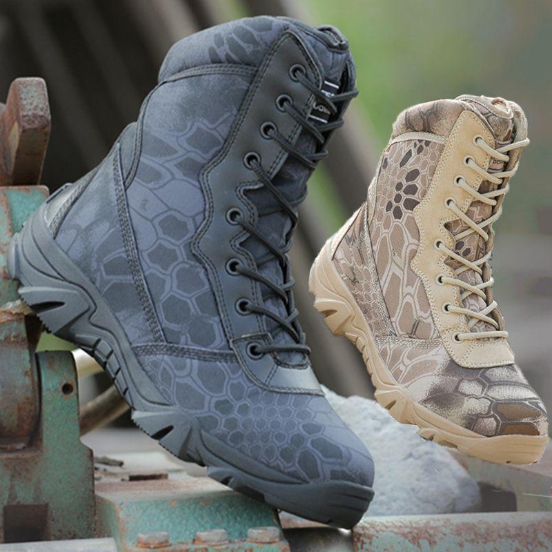 蟒纹迷彩军靴男女特种兵战术作战靴黑色保安执勤靴户外登山鞋靴
