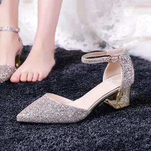 金色婚鞋2020新款伴娘粗跟单鞋女一字扣水晶新娘鞋白婚纱礼服中跟图片