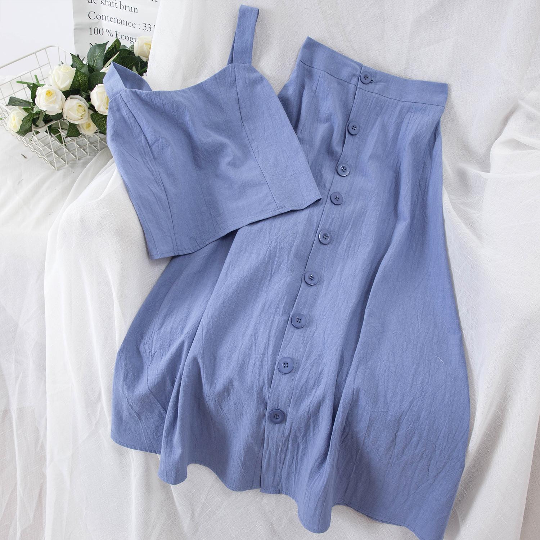 D15#夏季新款时尚ins风显瘦高腰背心单排扣A字裙两件套中长裙套装