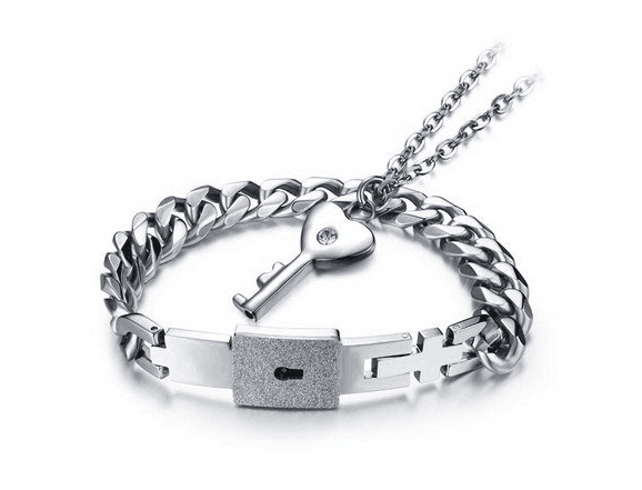 Love lock concentric lock couple Bracelet a pair of engraved male and female student creative key bracelets in Japan and South Korea