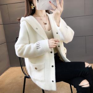 冬季2019新款仿貂绒小香风外套女短款连帽针织开衫女士毛衣女外穿