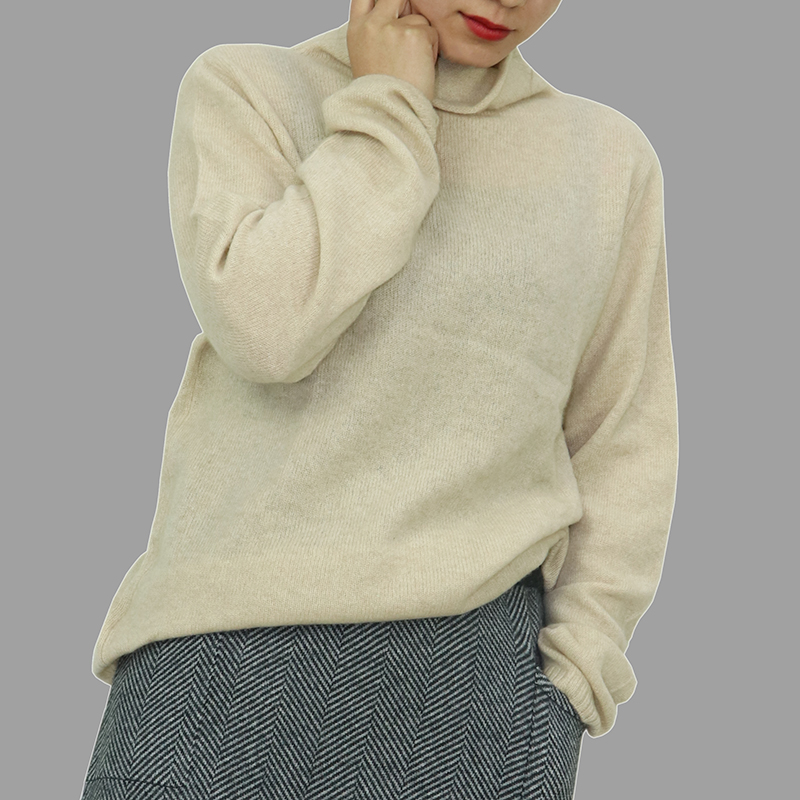 Original color pure cashmere Slouchy bottom coat in autumn and winter wear new loose sweater womens flat collar Pullover cashmere