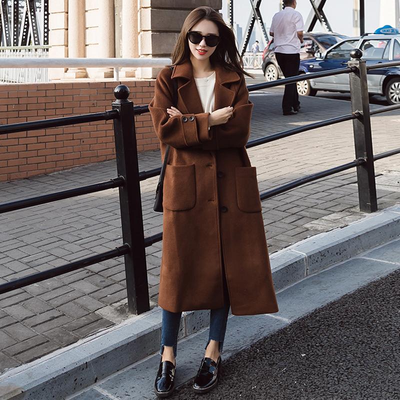 100酷伽新品时尚纯色冬季百搭韩版中长款都市潮流毛呢外套