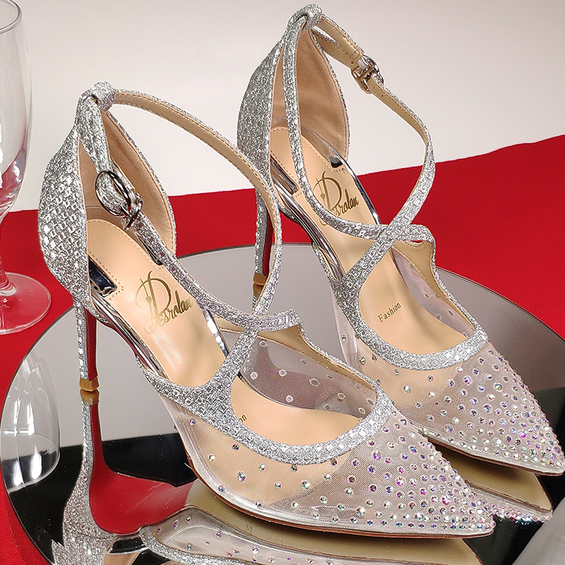 2021 new summer transparent diamond mesh high heeled shoes fairy wind thin heel net red cross band pointed wedding shoes