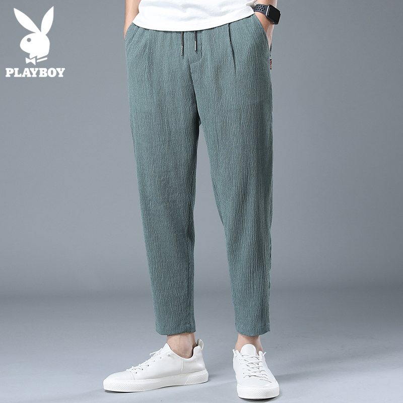 Playboy ice silk casual pants men's loose summer thin section trend wild linen pants nine-point pants men's pants