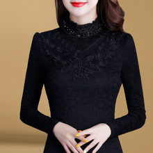 Plush lace bottoming women's 2019 new winter warm high collar fashion small shirt long sleeve autumn winter thickened top