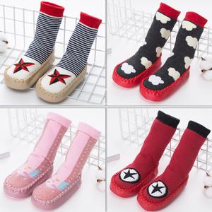 0-3歲秋冬寶寶襪子兒童地板襪嬰兒襪防滑點膠加厚底隔涼學步鞋襪