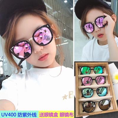 18新款儿童太阳镜男童女童墨镜潮小孩眼镜防紫外线宝宝蛤蟆镜个性