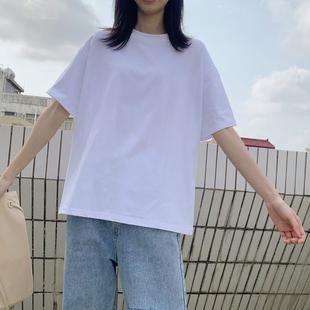 短袖t恤女装春夏新款ins潮网红宽松短款纯棉宽松体桖衫上衣夏白色