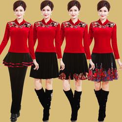 艳王金丝绒广场舞服装新款套装秋冬长袖厚中老年舞蹈服跳舞衣服女