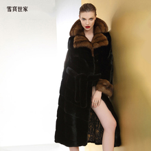Sable fur mink fur medium length coat women's whole sable collar imported fur mink fur coat new autumn and winter