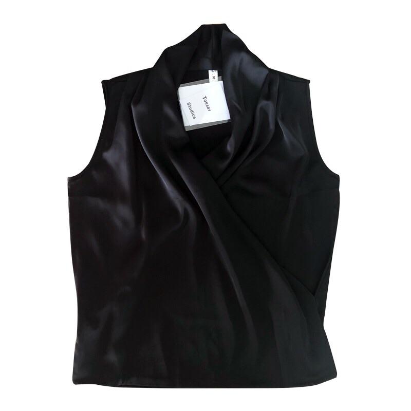 UMI2020新品轻奢缎面褶皱V领衬衫通勤OL气质背心简约款无袖衬衣女