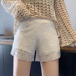 居家可外穿安全裤女防走光宽松打底裤短裤蕾丝夏季白色薄款不卷边