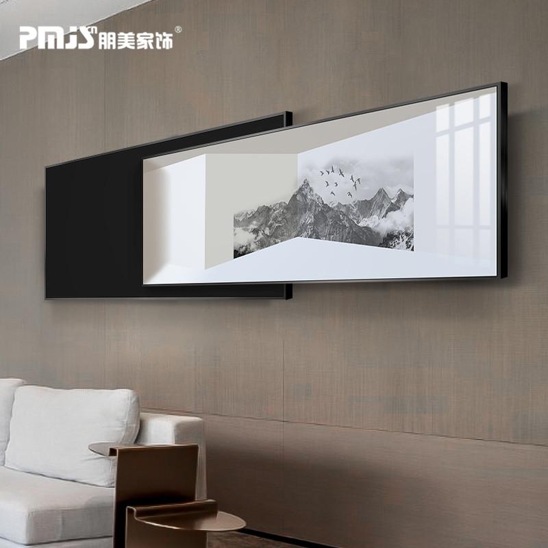 新中式卧室床头装饰画黑白禅意现代简约叠加画客厅轻奢风晶瓷挂画