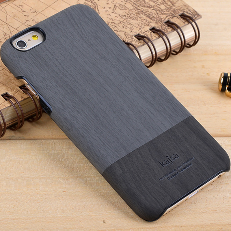kajsa Outdoor Collection Wood Pattern PU Leather Hard Case Cover