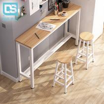 靠墙吧台桌高脚桌家用简约现代小吧台阳台餐桌长条高桌子奶茶店桌