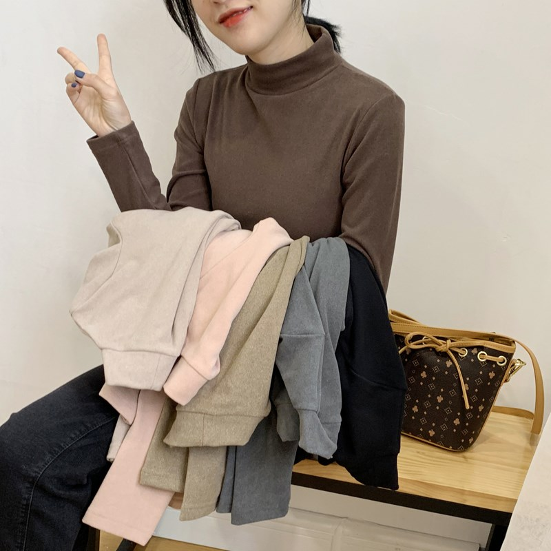 Double sided cashmere bottomed shirt for womens high neck 2020 new solid color with long sleeve T-shirt inside