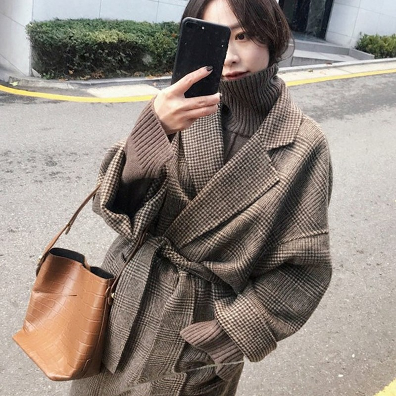 Japanese outerwear womens winter 2020 retro new fashion over the knee Hepburn wool medium long thickened double faced fabric