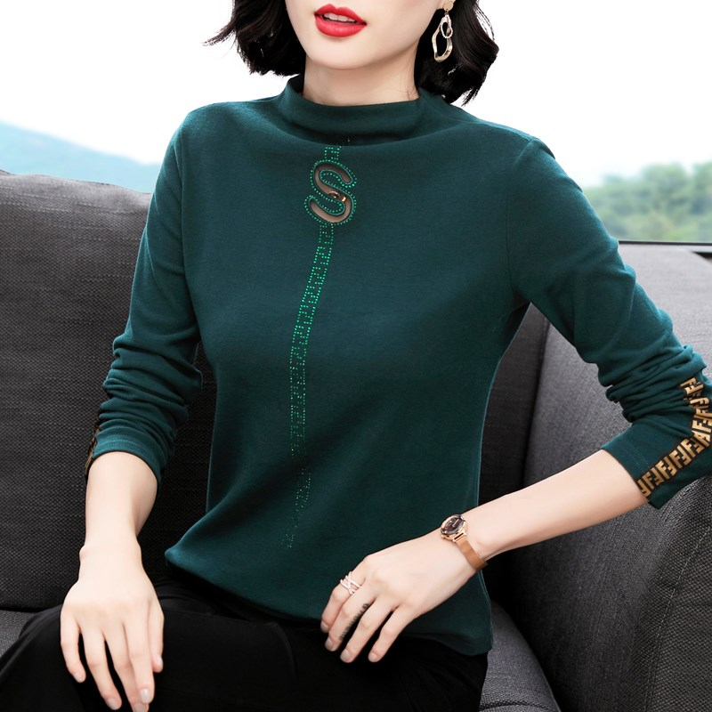 Double sided cashmere bottoming blouse womens half high collar T-shirt 2020 new moms inside add Plush thick top trend