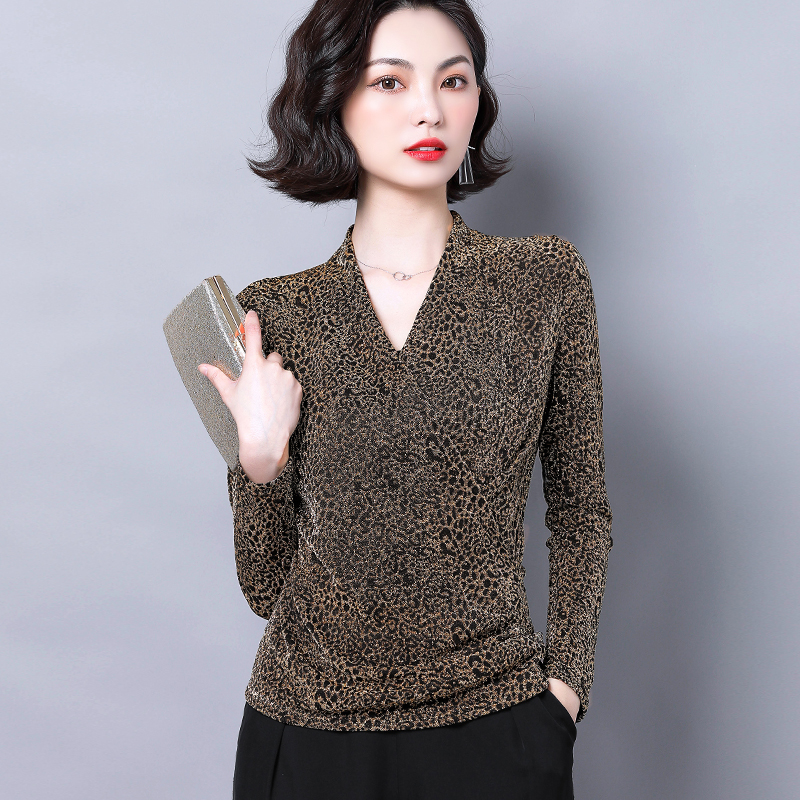 Leopard print cross top mesh bottom top womens new fall 2020 long sleeve belly covering V-neck printed T-shirt