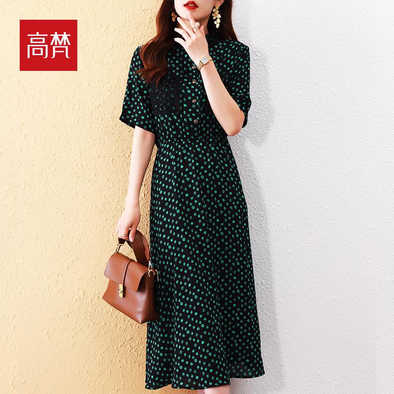 高梵雪纺连衣裙女长款2021年夏季新款方领长裙短袖韩版花色裙子